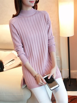 Ericdress Turtleneck Plain Mid-Length Knitwear