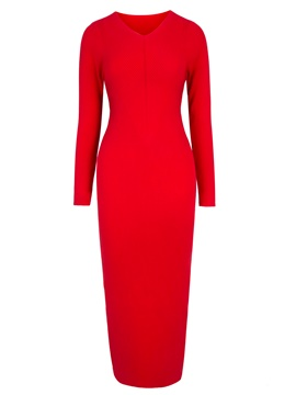 Ericdress V-Neck Mid-Calf Plain Long Sleeve Bodycon Dress