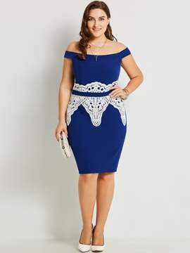 Ericdress Off-the-Shoulder Patchwork Plus Bodycon Dress