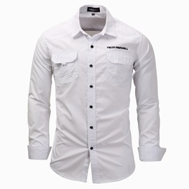 Ericdress Plain Lapel Mens Slim Casual Shirt