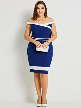 Ericdress Plusee Off Shoulder Bodycon Color Block Dress