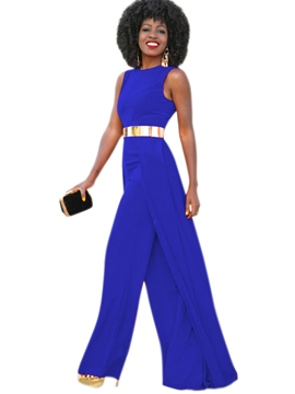 Ericdress Plain Wide Legs Pleated Patchwork Jumpsuits Pants