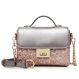 ericdress brillantes lentejuelas bloque de color crossbody bolsa