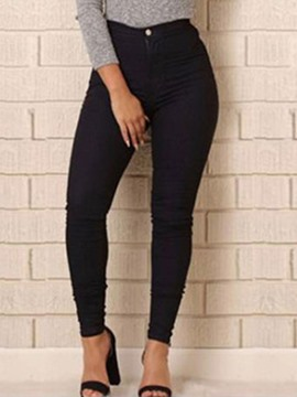 Ericdress High-Waist Plain Button Pocket Jeans