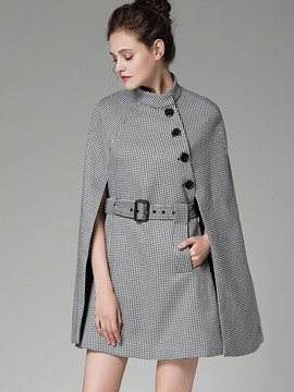 Ericdress Stand Collar Houndstooth Sleeveless Coat