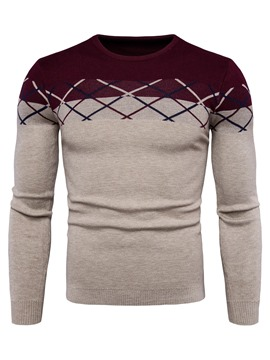 Ericdress Round Neck Color Block Slim Pullover Men's Sweater