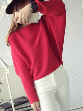 Ericdress Plain Thin Batwing Sleeve Sweater