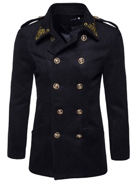 Ericdress Plain Double-Breasted Embroidery Vogue Men's Woolen Coat