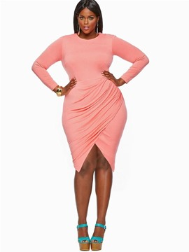Ericdress Plus Size Round Neck Knee-Length Plain Asymmetrical Dress
