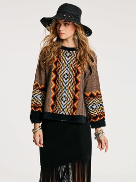 Ericdress Straight Jacquard Weave Asymmetric Sweater