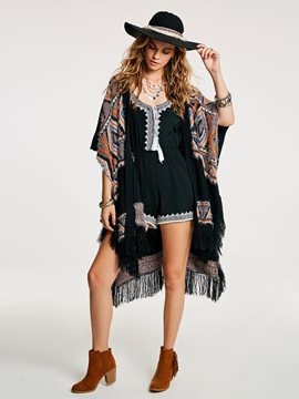 Ericdress Tassel Geometric Wrapped Cape