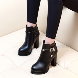 Ericdress Plain Platform Button High Heel Boots with Buckle