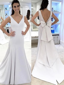 Ericdress V Neck Mermaid Open Back Wedding Dress