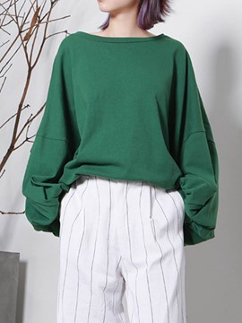 Ericdress Loose Plain Lantern Sleeve T-shirt