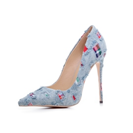 Ericdress Denim Slip-On Color Block Stiletto Heel Pumps