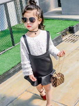 Ericdress Plain Long Sleeve And Suspender Skirt 2-Pcs Girls Outfit