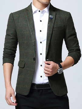 Ericdress Notched Lapel Plaid Slim Pocket Men's Blazer
