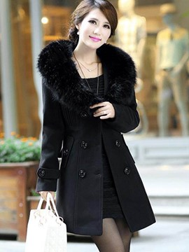 Ericdress Plain Slim Single-Breasted Fur Coat