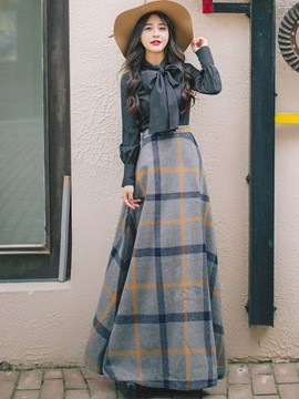 Ericdress Plaid Long Skirt and Bowknot Shirt Women's 2-Piece Set