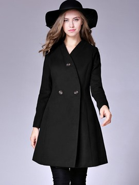 Ericdress V-Neck Plain Mid-Length Coat