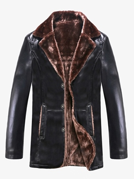 Ericdress PU Leather Lapel Button Men's Winter Coat