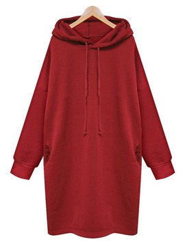 ericdress lose plain mid-length cool hoodie