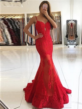 Ericdress Spaghetti Straps Lace Mermaid Evening Dress