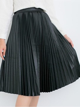 Ericdress Pleated Plain Mid-Calf Usual Skirts