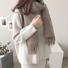 Ericdress Pure Color Wool Spinning All Match Long Winter Scarf