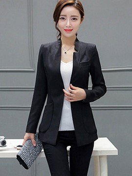Ericdress Solid Color One Button Mid-Length Blazer