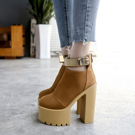 Ericdress Fashionable Platform Back Zip Plain Chunky Heel Boots