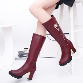Ericdress Fashion Round Toe Rivet Platform Knee High Boots