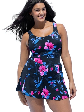 Ericdress U-Neck Floral Pleated Plus Size Beach Dress