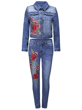 Ericdress Floral Embroidery Jacket and Jeans Women's Denim Suit