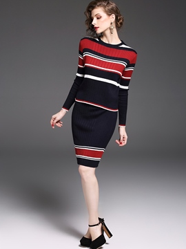 Ericdress Stripe Print Autumn Knee-Length Leisure Two Piece Set