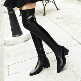 Ericdress Winter Side Zipper Plain Knee High Boots