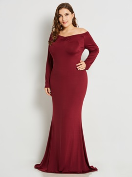 Ericdress V-Neck Slim Pleated Solid Collar Maxi Dress