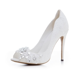 Ericdress Rhinestone Lace Peep Toe Wedding Shoes