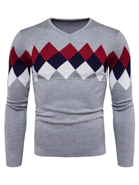 Ericdress Round Neck Color Block V-Neck Men's Sweater