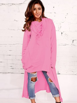 Ericdress Asymmetric Plain Mid-Length Cool Hoodie
