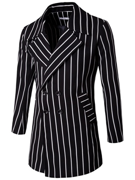 Ericdress Mid-Length Stripe Double-Breasted Men's Trench Coat