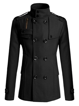 Ericdress Zip Double-Breasted Vogue Men's Wool Peacoat