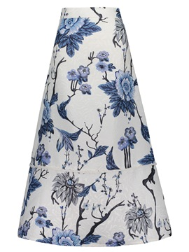Ankle-Length Floral Print A-Line Women's Skirt