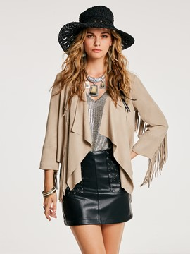 Ericdress Slim Tassel Patchwork Wrapped Jacket