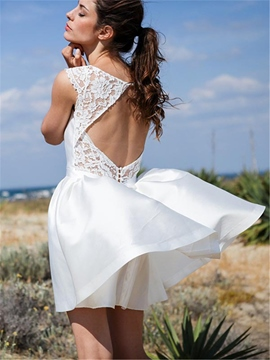 Ericdress Scoop Lace Open Back Short Wedding Dress