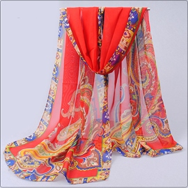 Ericdress India Style Chiffon Flower Printed Scarf for Women