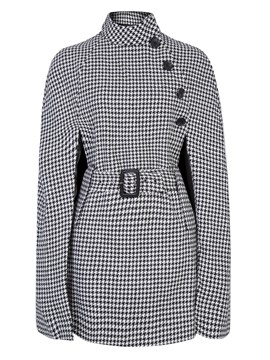 Ericdress Stand Collar Houndstooth Single-Breasted Overcoat