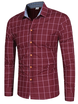 Ericdress Long Sleeve Plaid Slim Men's Shirt