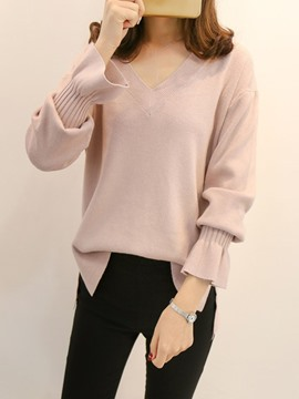 Ericdress V-Neck Loose Plain Flare Sleeve Knitwear