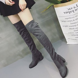 Ericdress Plain All Match Chunky Heel Knee High Boots